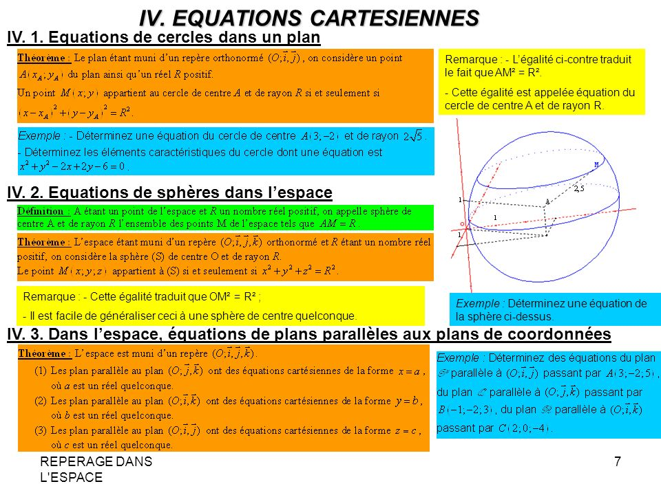 REPERAGE DANS L'ESPACE 7 IV. EQUATIONS CARTESIENNES IV. 1. Equations de cercles dans un plan Remarque : - Légalité ci-contre traduit le fait que AM² =