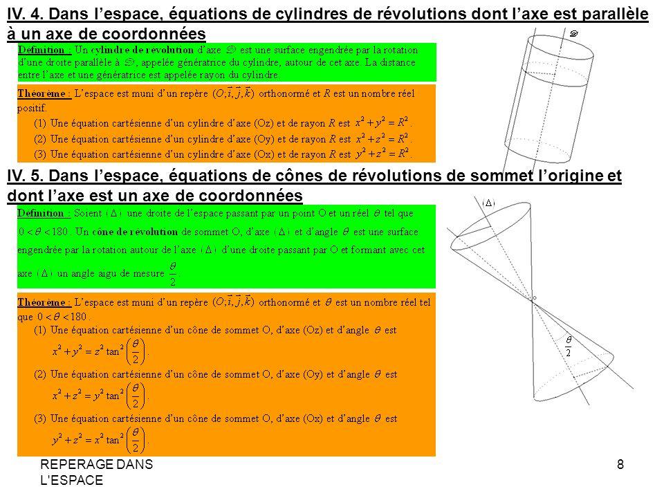 REPERAGE DANS L'ESPACE 8 IV. 4. Dans lespace, équations de cylindres de révolutions dont laxe est parallèle à un axe de coordonnées IV. 5. Dans lespac