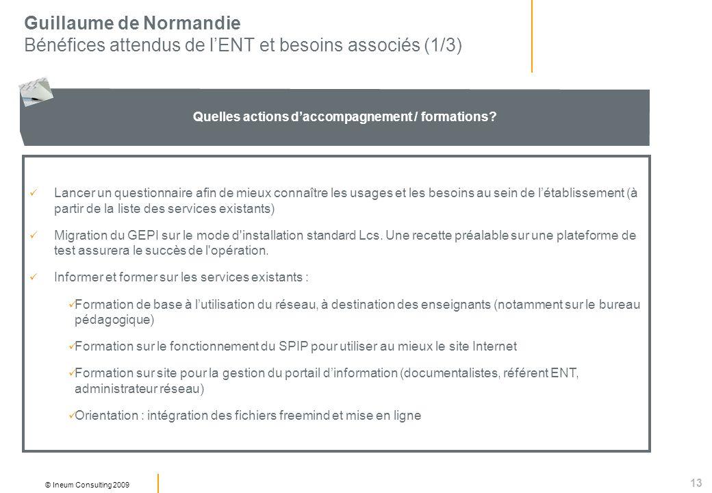 13 © Ineum Consulting 2009 Guillaume de Normandie Bénéfices attendus de lENT et besoins associés (1/3) Quelles actions daccompagnement / formations.