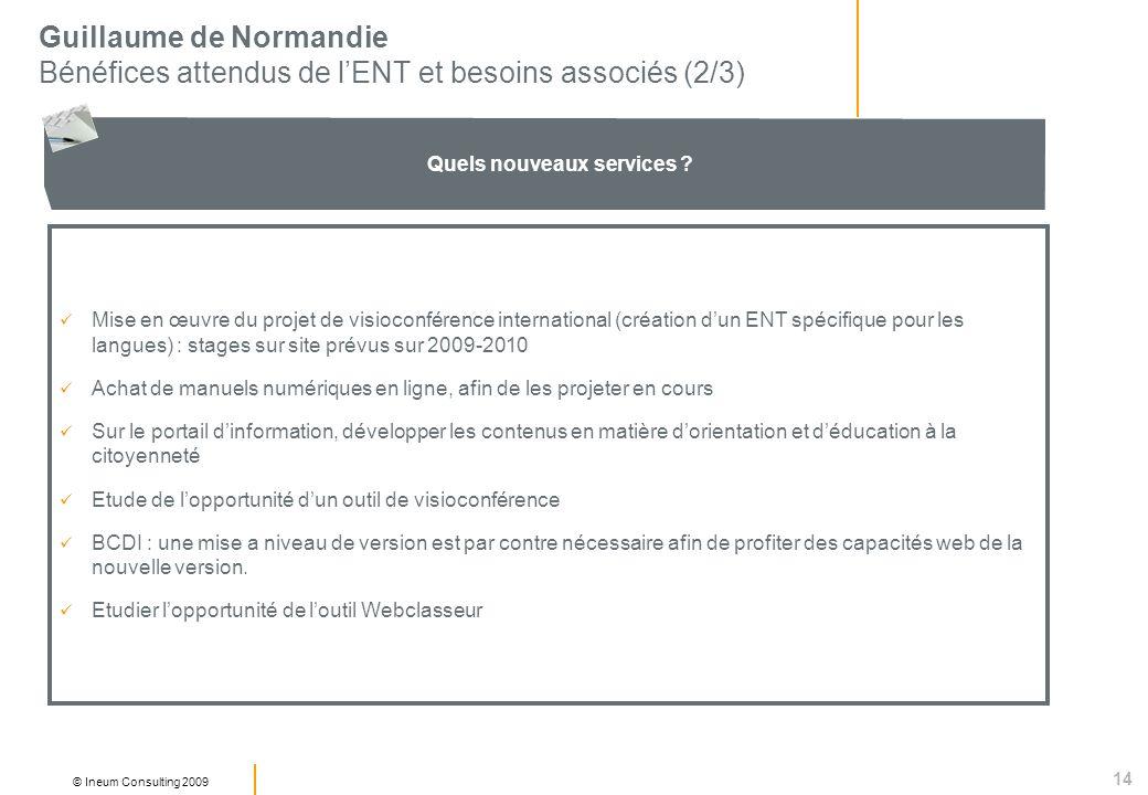14 © Ineum Consulting 2009 Guillaume de Normandie Bénéfices attendus de lENT et besoins associés (2/3) Quels nouveaux services ? Mise en œuvre du proj