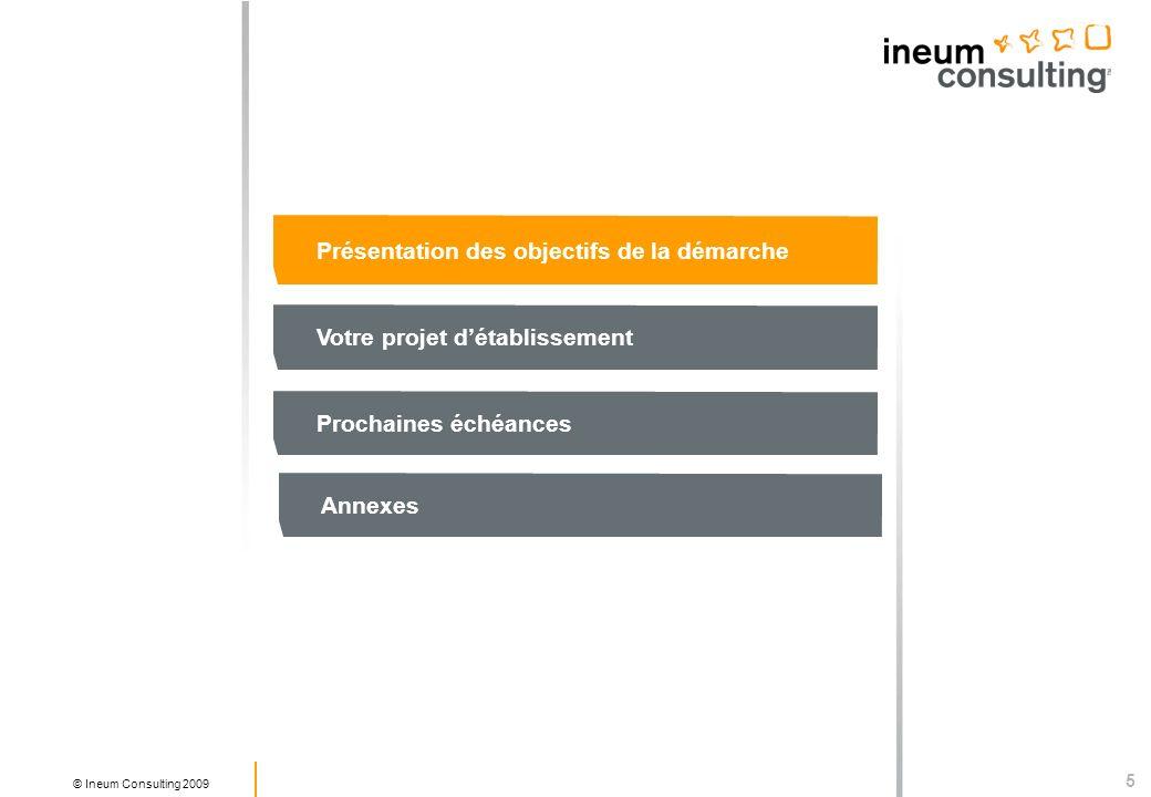 5 © Ineum Consulting 2009 Présentation des objectifs de la démarche Votre projet détablissement Prochaines échéances Annexes