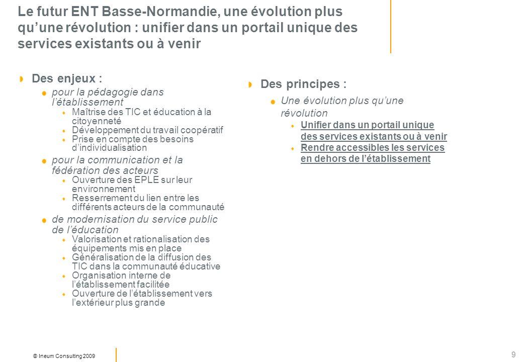 9 © Ineum Consulting 2009 Le futur ENT Basse-Normandie, une évolution plus quune révolution : unifier dans un portail unique des services existants ou