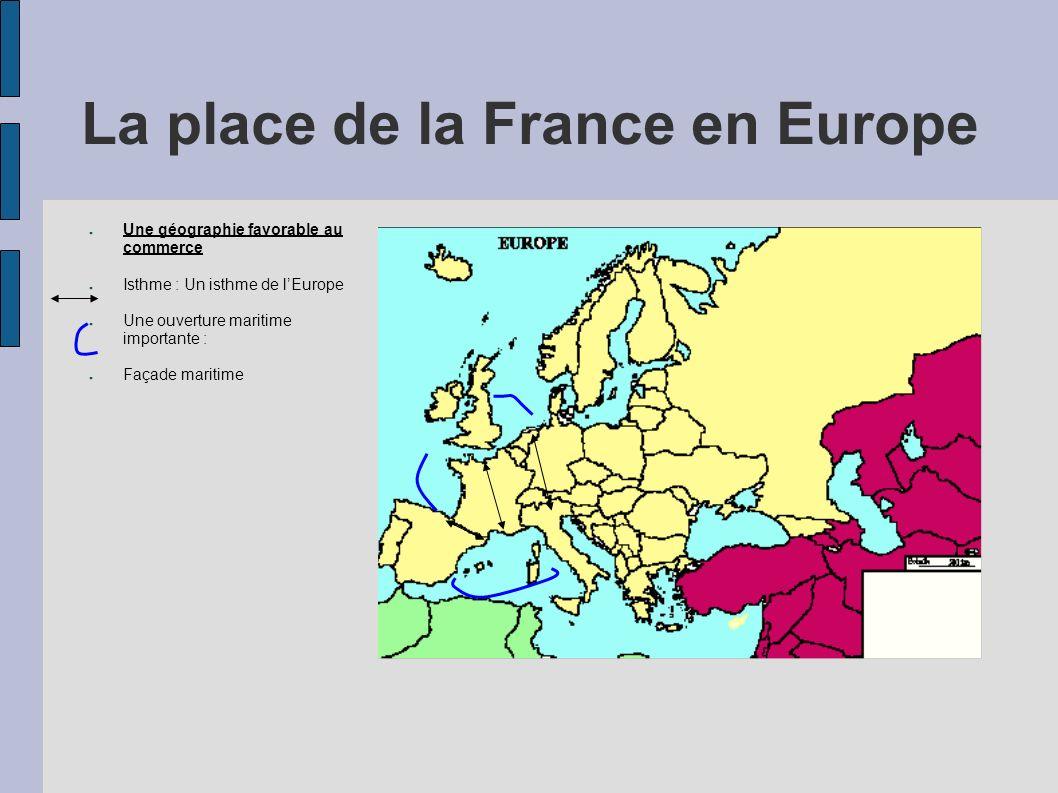 La place de la France en Europe Une géographie favorable au commerce Isthme : Un isthme de lEurope Une ouverture maritime importante : Façade maritime Axe maritime très fréquenté Une France en marge de lEurope ?