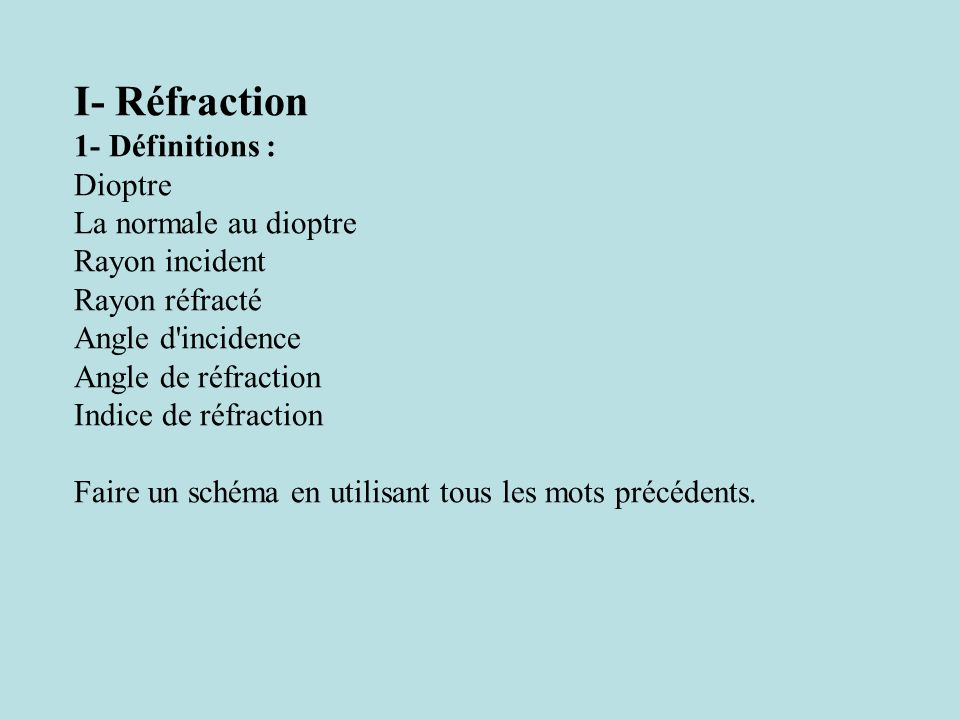 I- Réfraction 1- Définitions : Dioptre La normale au dioptre Rayon incident Rayon réfracté Angle d'incidence Angle de réfraction Indice de réfraction