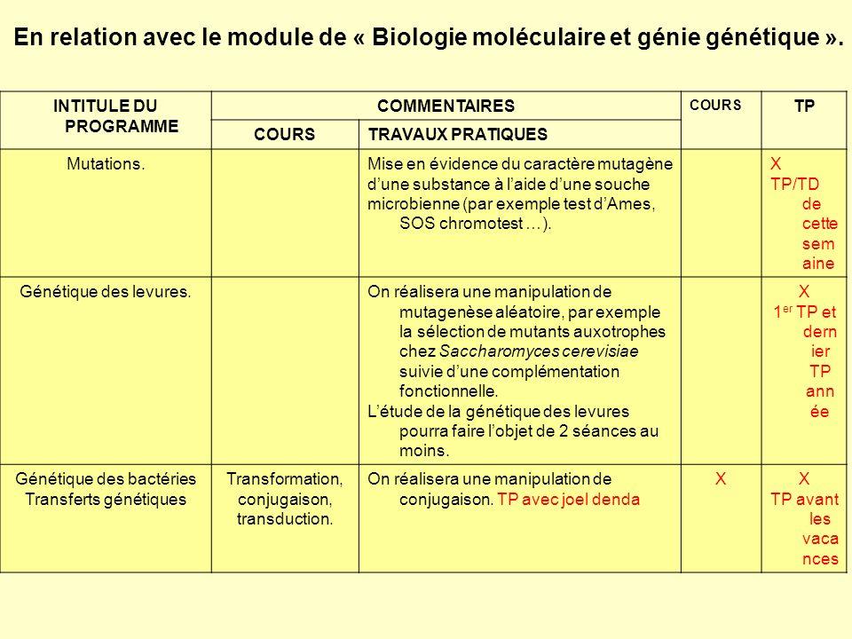En relation avec le module de « Biologie moléculaire et génie génétique ». INTITULE DU PROGRAMME COMMENTAIRES COURS TP COURSTRAVAUX PRATIQUES Mutation