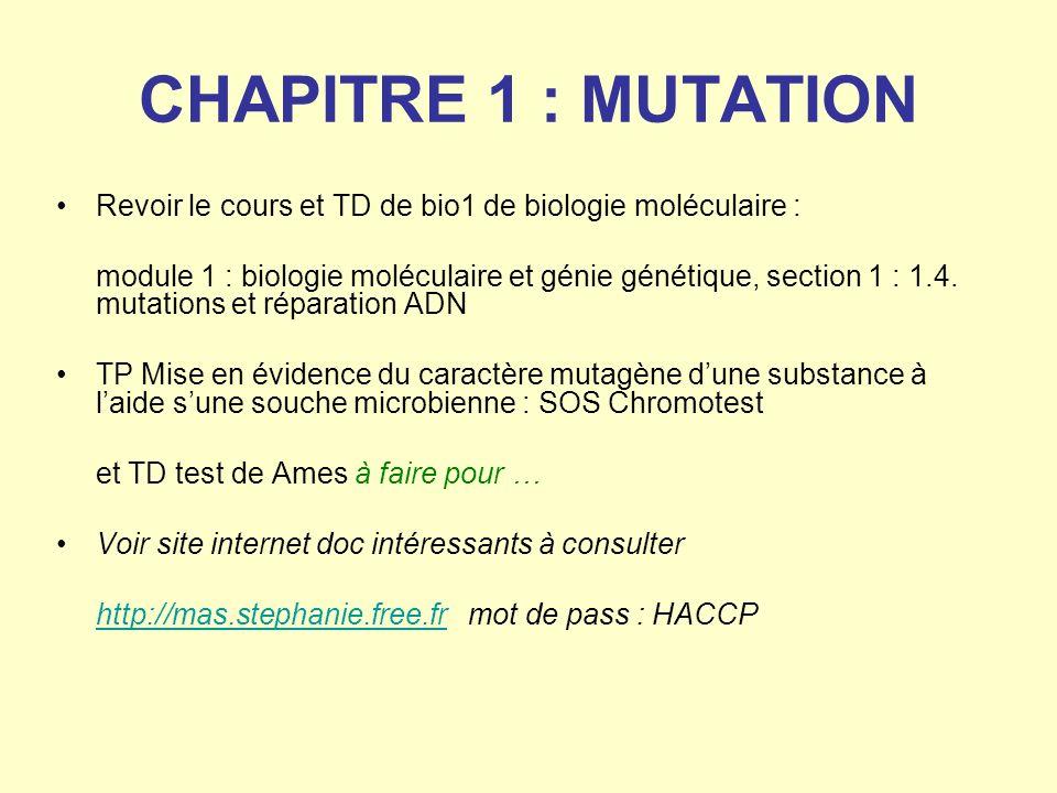 CHAPITRE 1 : MUTATION Revoir le cours et TD de bio1 de biologie moléculaire : module 1 : biologie moléculaire et génie génétique, section 1 : 1.4. mut