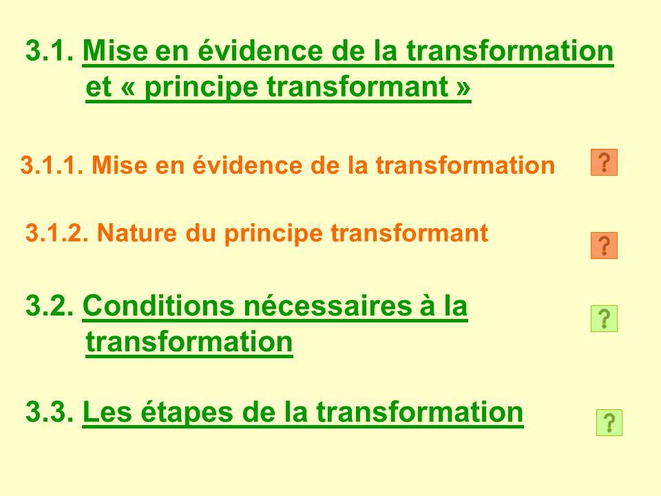 3.1. Mise en évidence de la transformation et « principe transformant » 3.1.1. Mise en évidence de la transformation 3.1.2. Nature du principe transfo