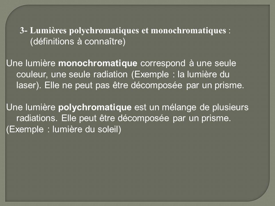 3- Lumières polychromatiques et monochromatiques : (définitions à connaître) Une lumière monochromatique correspond à une seule couleur, une seule radiation (Exemple : la lumière du laser).