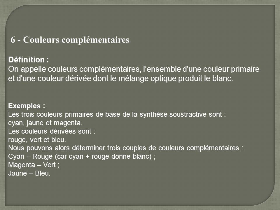 6 - Couleurs complémentaires Définition : On appelle couleurs complémentaires, lensemble d'une couleur primaire et d'une couleur dérivée dont le mélan