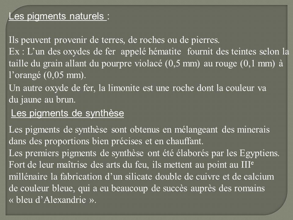 Les pigments naturels : Ils peuvent provenir de terres, de roches ou de pierres. Ex : Lun des oxydes de fer appelé hématite fournit des teintes selon