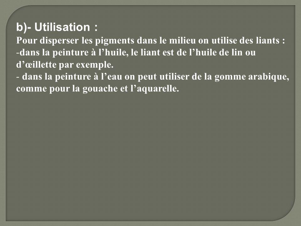 b)- Utilisation : Pour disperser les pigments dans le milieu on utilise des liants : -dans la peinture à lhuile, le liant est de lhuile de lin ou dœil