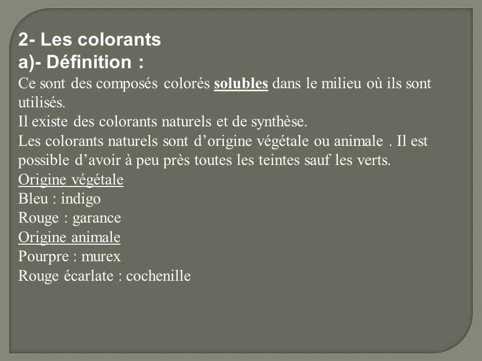 2- Les colorants a)- Définition : Ce sont des composés colorés solubles dans le milieu où ils sont utilisés. Il existe des colorants naturels et de sy