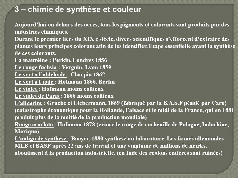 3 – chimie de synthèse et couleur Aujourdhui en dehors des ocres, tous les pigments et colorants sont produits par des industries chimiques. Durant le