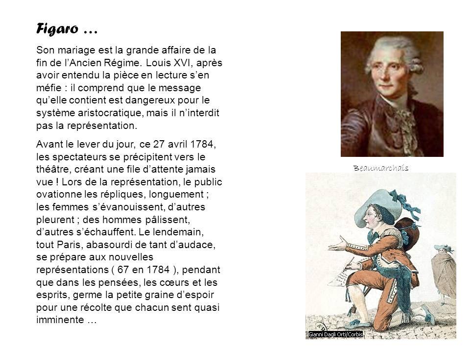 Figaro … Son mariage est la grande affaire de la fin de lAncien Régime. Louis XVI, après avoir entendu la pièce en lecture sen méfie : il comprend que