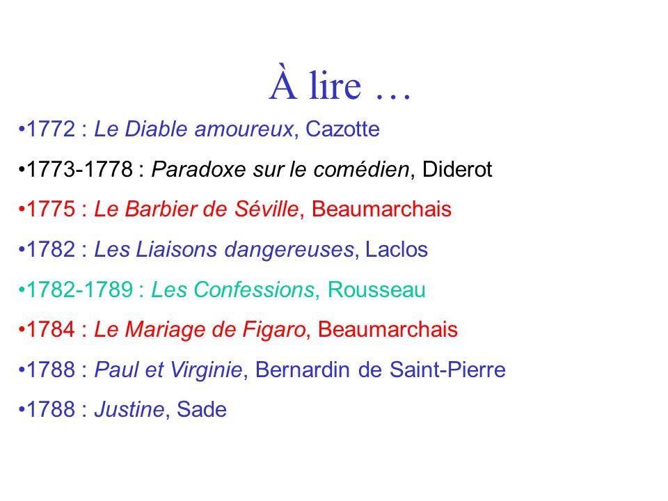 À lire … 1772 : Le Diable amoureux, Cazotte 1773-1778 : Paradoxe sur le comédien, Diderot 1775 : Le Barbier de Séville, Beaumarchais 1782 : Les Liaiso