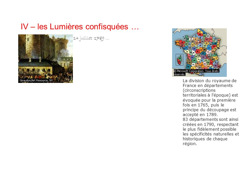 IV – les Lumières confisquées … 14 juillet 1789 … La division du royaume de France en départements (circonscriptions territoriales à l'époque) est évo