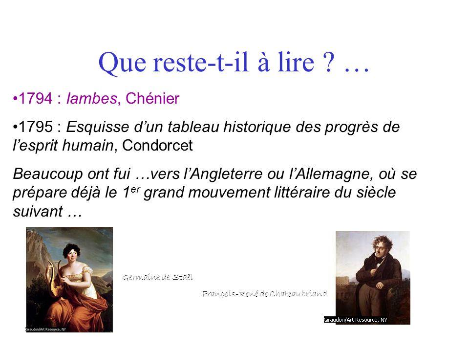 Que reste-t-il à lire ? … 1794 : Iambes, Chénier 1795 : Esquisse dun tableau historique des progrès de lesprit humain, Condorcet Beaucoup ont fui …ver