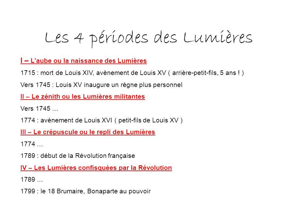 Les 4 périodes des Lumières I – Laube ou la naissance des Lumières 1715 : mort de Louis XIV, avènement de Louis XV ( arrière-petit-fils, 5 ans .