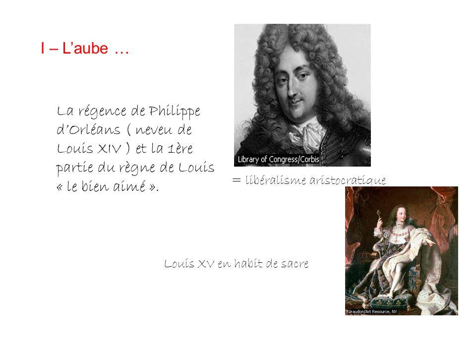 I – Laube … La régence de Philippe dOrléans ( neveu de Louis XIV ) et la 1ère partie du règne de Louis « le bien aimé ». = libéralisme aristocratique