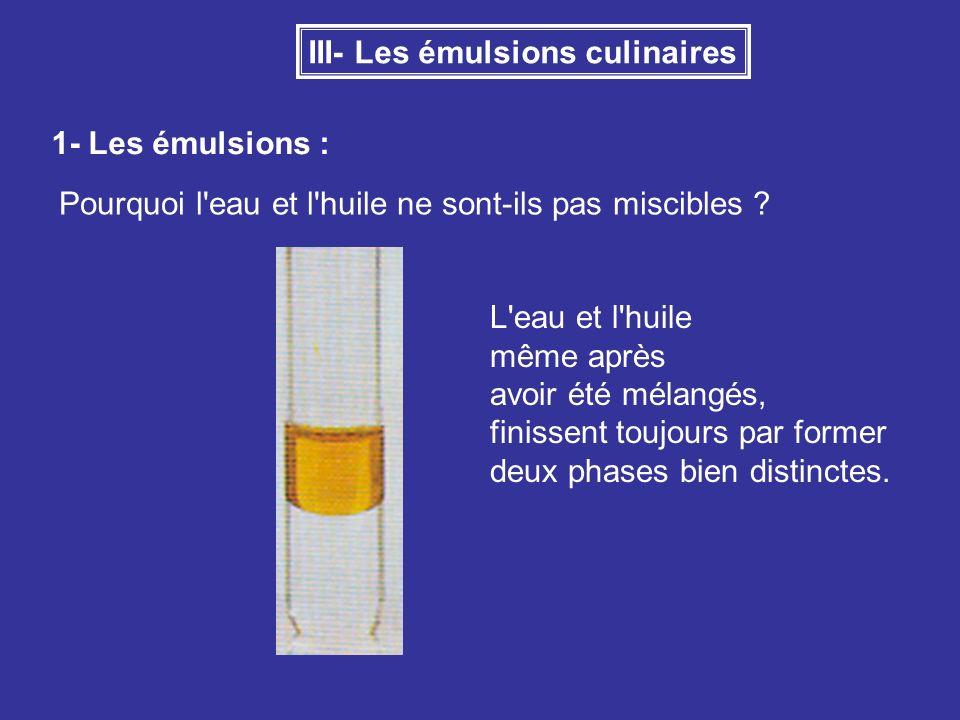 III- Les émulsions culinaires 1- Les émulsions : Pourquoi l'eau et l'huile ne sont-ils pas miscibles ? L'eau et l'huile même après avoir été mélangés,
