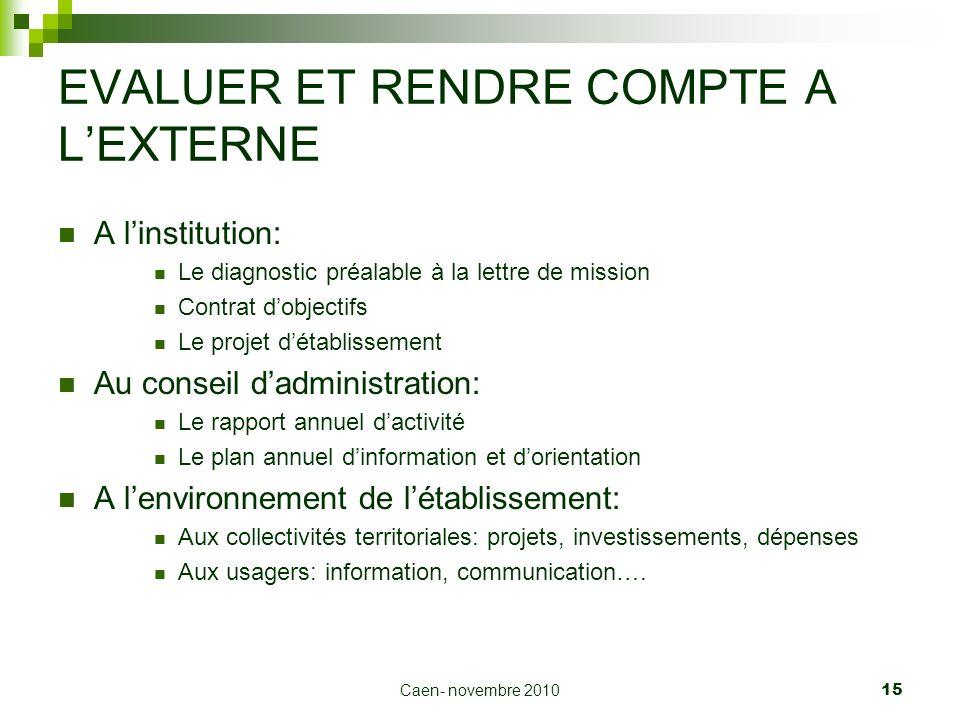 Caen- novembre 2010 15 EVALUER ET RENDRE COMPTE A LEXTERNE A linstitution: Le diagnostic préalable à la lettre de mission Contrat dobjectifs Le projet