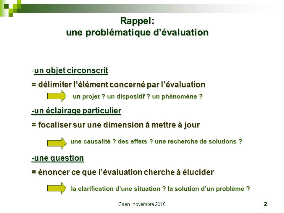 Caen- novembre 2010 2 Rappel: une problématique dévaluation -un objet circonscrit = délimiter lélément concerné par lévaluation un projet ? un disposi