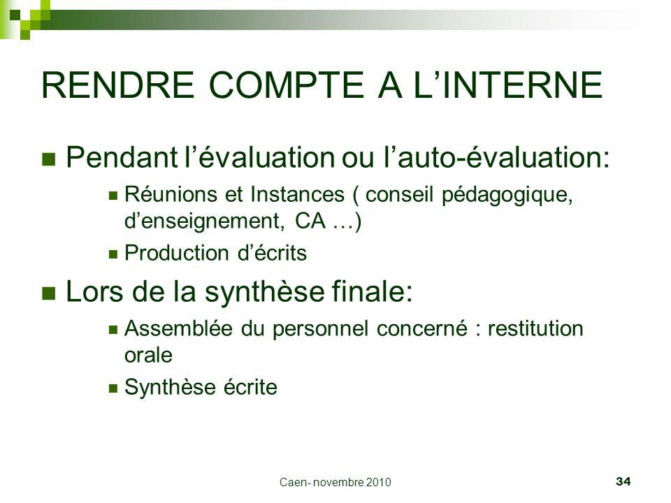 Caen- novembre 2010 34 RENDRE COMPTE A LINTERNE Pendant lévaluation ou lauto-évaluation: Réunions et Instances ( conseil pédagogique, denseignement, C