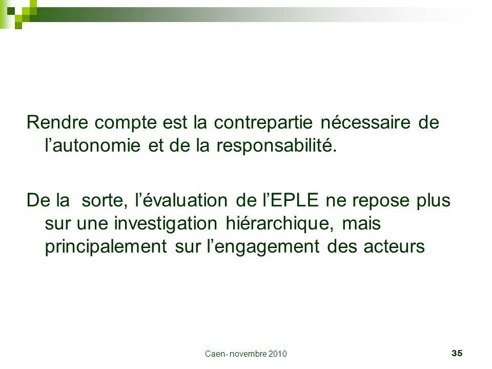 Caen- novembre 2010 35 Rendre compte est la contrepartie nécessaire de lautonomie et de la responsabilité. De la sorte, lévaluation de lEPLE ne repose