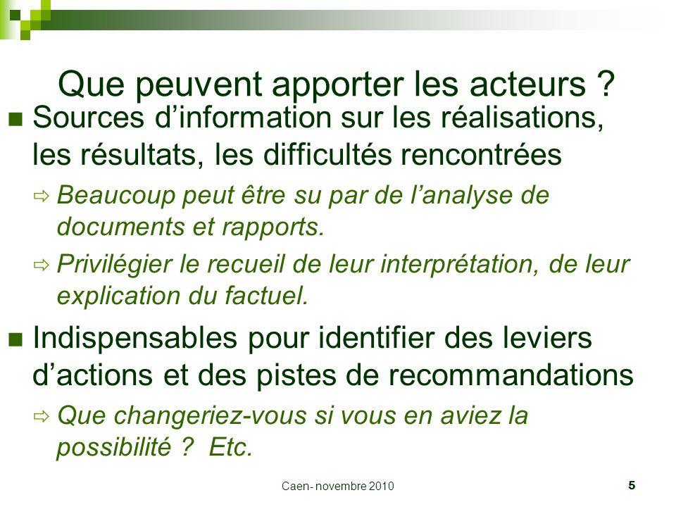 Caen- novembre 2010 5 Que peuvent apporter les acteurs ? Sources dinformation sur les réalisations, les résultats, les difficultés rencontrées Beaucou