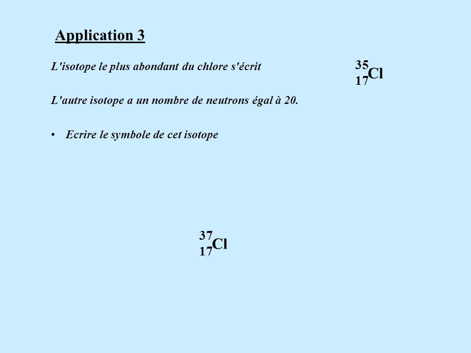 L'isotope le plus abondant du chlore s'écrit. L'autre isotope a un nombre de neutrons égal à 20. Ecrire le symbole de cet isotope. 35 Cl 17 Applicatio