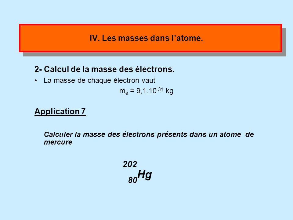 IV. Les masses dans latome. 1- Calcul de la masse du noyau. m n = 1,7.10 -27 kg La masse d un nucléon est m n = 1,7.10 -27 kg. Application 6 Calculer