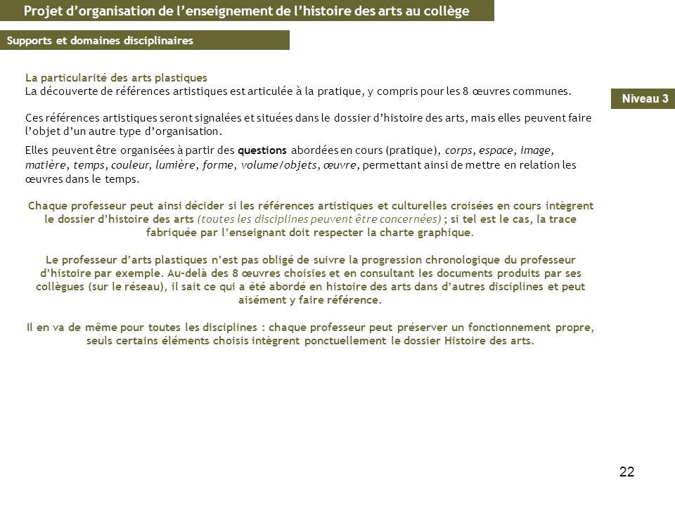 22 Projet dorganisation de lenseignement de lhistoire des arts au collège Supports et domaines disciplinaires Niveau 3 La particularité des arts plast