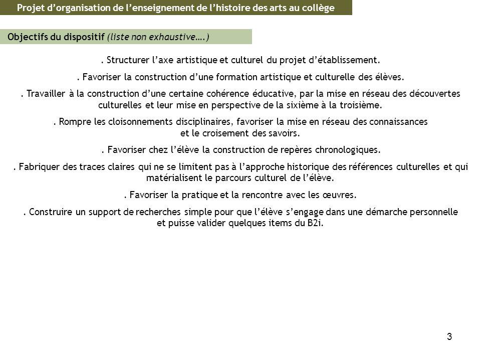 3. Structurer laxe artistique et culturel du projet détablissement.. Favoriser la construction dune formation artistique et culturelle des élèves.. Tr