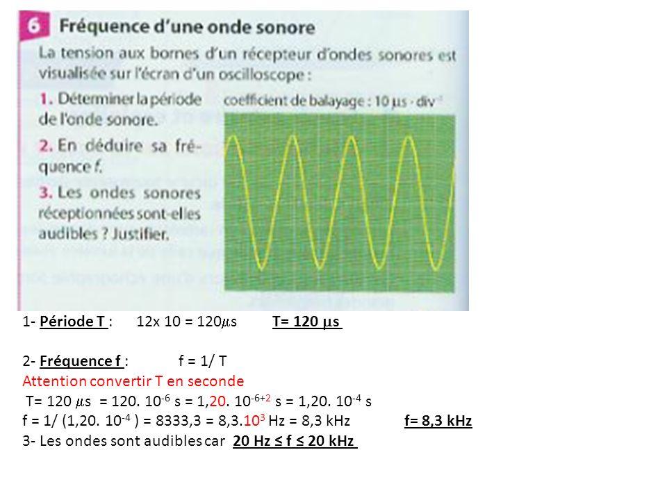 1- Période T : 12x 10 = 120 s T= 120 s 2- Fréquence f : f = 1/ T Attention convertir T en seconde T= 120 s = 120. 10 -6 s = 1,20. 10 -6+2 s = 1,20. 10