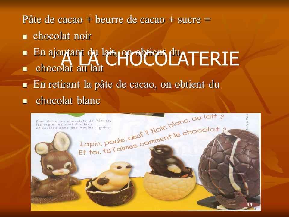 Pâte de cacao + beurre de cacao + sucre = chocolat noir En ajoutant du lait, on obtient du c chocolat au lait En retirant la pâte de cacao, on obtient