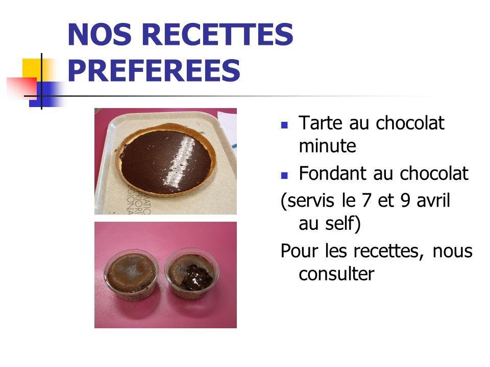 NOS RECETTES PREFEREES Tarte au chocolat minute Fondant au chocolat (servis le 7 et 9 avril au self) Pour les recettes, nous consulter