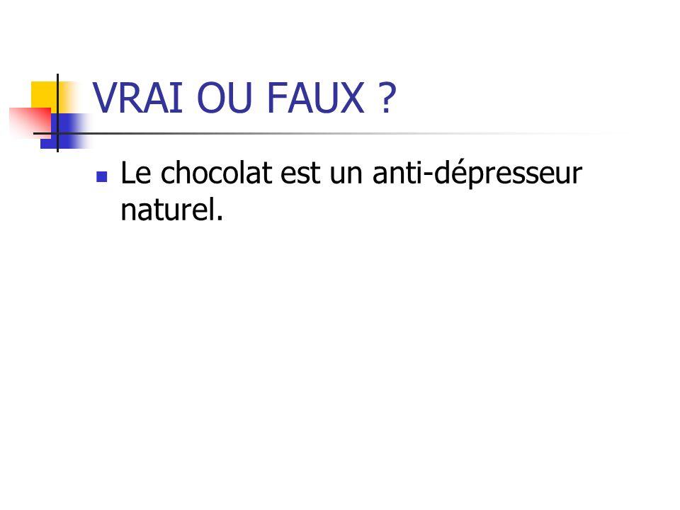 VRAI OU FAUX ? Le chocolat est un anti-dépresseur naturel.