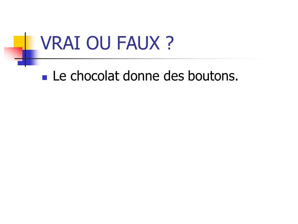 VRAI OU FAUX ? Le chocolat donne des boutons.