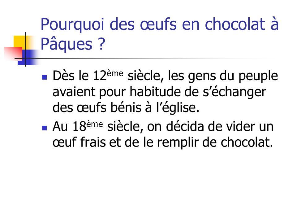Pourquoi des œufs en chocolat à Pâques ? Dès le 12 ème siècle, les gens du peuple avaient pour habitude de séchanger des œufs bénis à léglise. Au 18 è