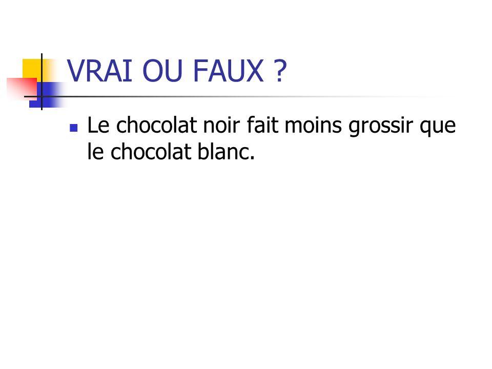 VRAI OU FAUX ? Le chocolat noir fait moins grossir que le chocolat blanc.