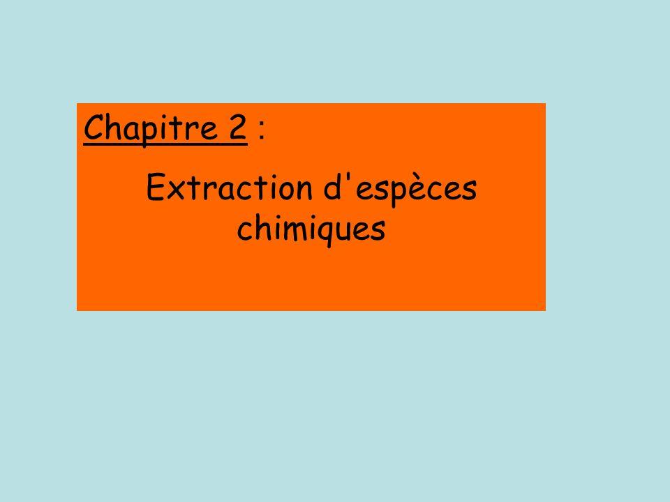 Chapitre 2 : Extraction d espèces chimiques