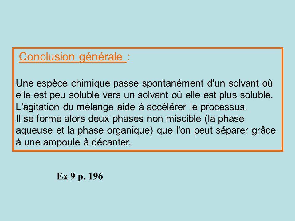 Conclusion générale : Une espèce chimique passe spontanément d un solvant où elle est peu soluble vers un solvant où elle est plus soluble.