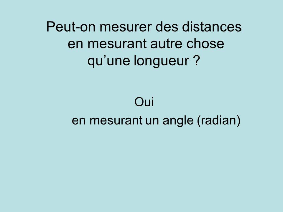 Peut-on mesurer des distances en mesurant autre chose quune longueur ? Oui en mesurant un angle (radian)