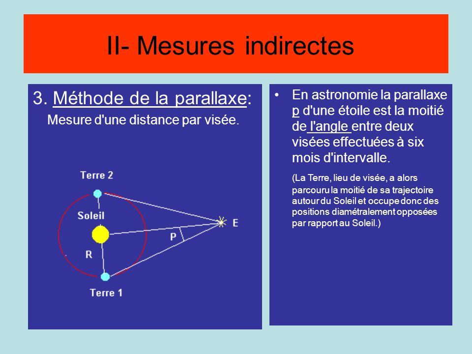 3. Méthode de la parallaxe: Mesure d'une distance par visée. Méthode de la parallaxe En astronomie la parallaxe p d'une étoile est la moitié de l'angl