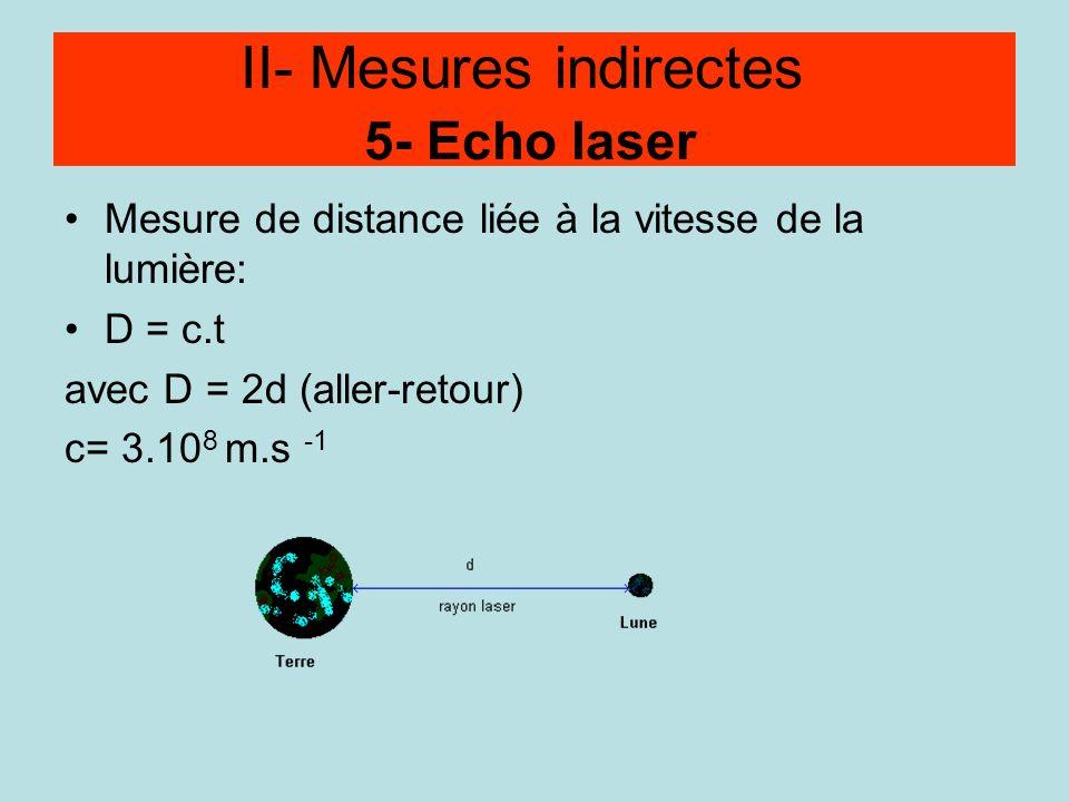 Méthode par écho Mesure de distance liée à la vitesse de la lumière: D = c.t avec D = 2d (aller-retour) c= 3.10 8 m.s -1 II- Mesures indirectes 5- Ech
