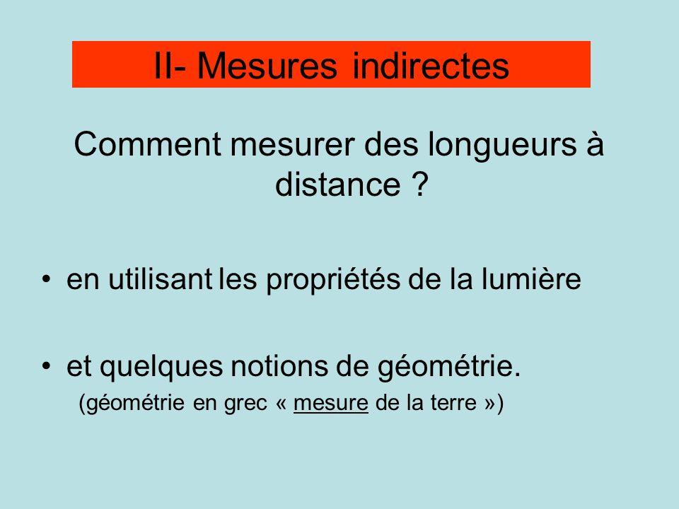 Comment mesurer des longueurs à distance ? en utilisant les propriétés de la lumière et quelques notions de géométrie. (géométrie en grec « mesure de