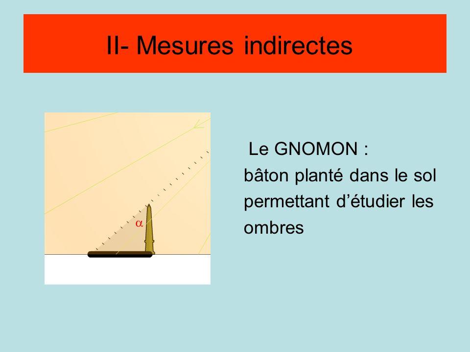 Méthode par visée Le GNOMON : bâton planté dans le sol permettant détudier les ombres II- Mesures indirectes