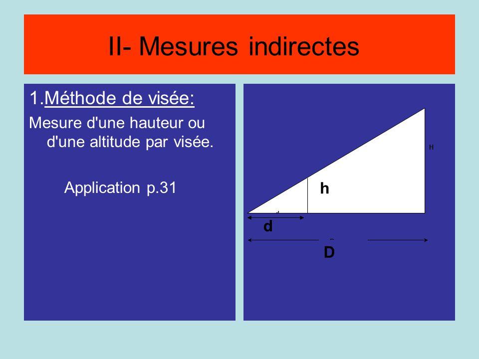 Méthode par visée 1.Méthode de visée: Mesure d'une hauteur ou d'une altitude par visée. Application p.31 h H D d D h d II- Mesures indirectes
