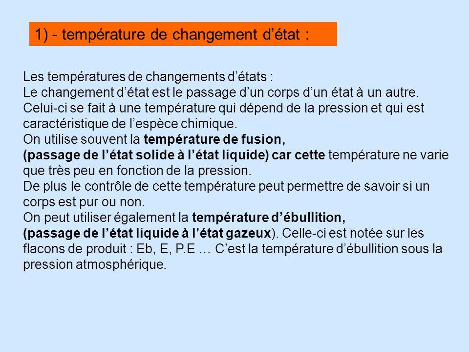 Les températures de changements détats : Le changement détat est le passage dun corps dun état à un autre. Celui-ci se fait à une température qui dépe