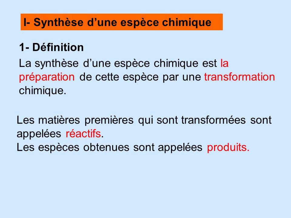 I- Synthèse dune espèce chimique 1- Définition La synthèse dune espèce chimique est la préparation de cette espèce par une transformation chimique. Le